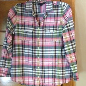 Blue and pink plaid button down